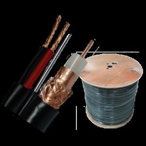 Kabl koaksijalni RG 59+2×0.75mm sa sajlom, licnaste žice, Cu+CCA, drveni kalem, bunt 305m